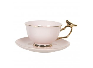 Růžový porcelánový šálek s podšálkem se zlatým zdobením Oiseau - 0,2L