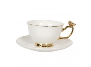 Bílý porcelánový šálek se zlatým zdobením Oiseau - 0,2L