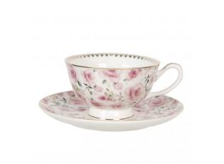 Porcelánový šálek s podšálkem s růžemi Des Roses - 0,2L