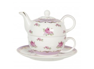 Porcelánová čajová konvička s šálkem a podšálkem Des Roses – 0,4 l