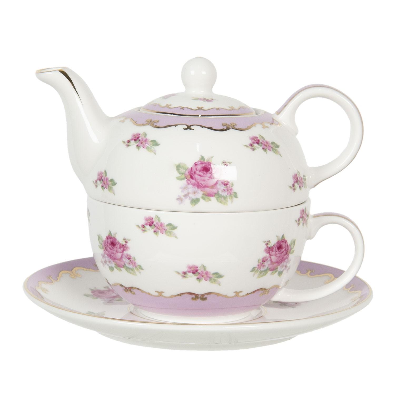 Clayre & Eef Porcelánová čajová konvička s šálkem a podšálkem Des Roses – 0,4 l