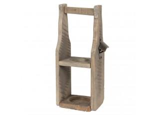 Dřevěná bedýnka na láhev s otvírákem - 15*12*38 cm