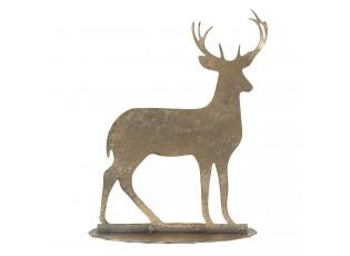 Dekorativní kovová zlatá soška jelena s patinou - 14*5*17 cm