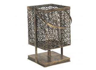 Bronzová kovová lucerna na podstavci Deline - 17*17*35 cm