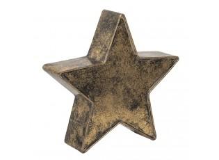 Zlatá dekorační kovová hvězda s patinou - 28*7*27 cm