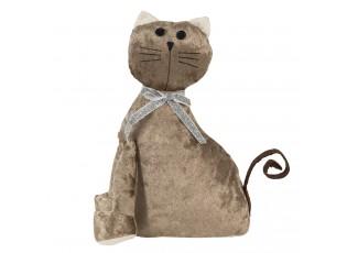 Dveřní zarážka hnědá sametová kočka - 20*11*29 cm