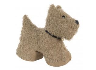Dveřní zarážka hnědý huňatý pes - 32*12*28 cm