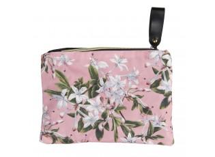 Růžová toaletní taška s liliemi - 26*18 cm