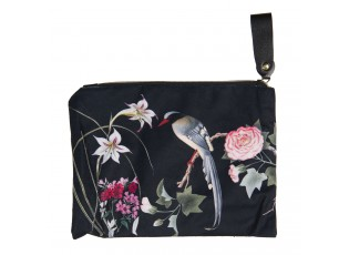 Černá toaletní taška s květy a ptáčkem - 26*18 cm