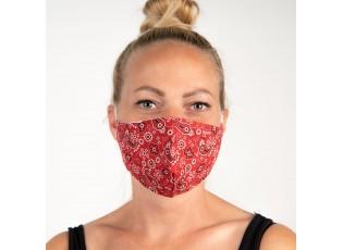 Červená bavlněná rouška na obličej s ornamenty