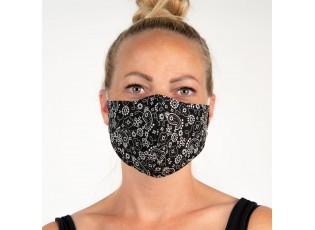 Černá bavlněná rouška na obličej s ornamenty