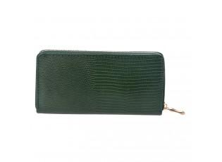 Středně velká tmavě zelená peněženka se zapínáním na zip.