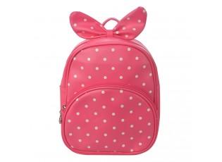 Dětský fuchsiový batůžek s puntíky  a mašlí - 20*10*24 cm