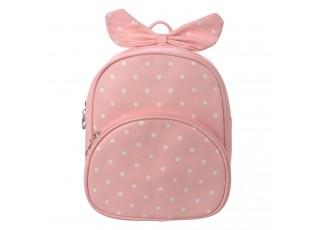 Dětský růžový batůžek s puntíky  a mašlí - 20*10*24 cm
