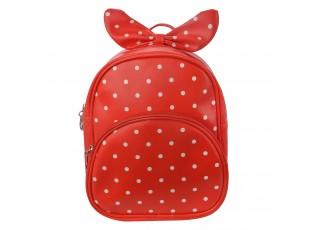 Dětský červený batůžek s puntíky  a mašlí - 20*10*24 cm