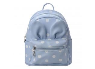Dětský modrý batůžek s puntíky  a oušky - 21*11*23 cm