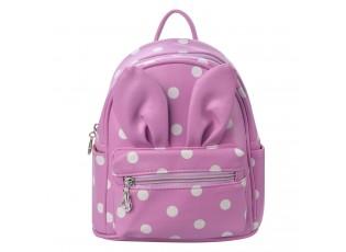 Dětský lila batůžek s puntíky  a oušky - 21*11*23 cm