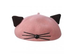 Růžovo černý dětský baret alá Kočka