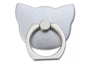 Nalepovací prsten na telefon stříbrná kočka