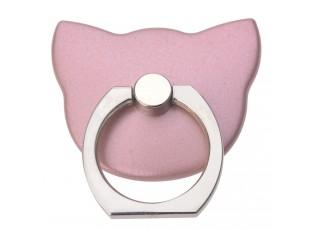 Nalepovací prsten na telefon růžová kočka