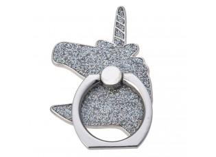 Prsten na mobilní telefon ve tvaru stříbrného jednorožce