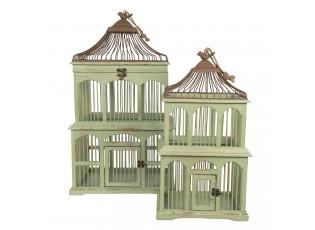 2 ks zeleno hnědá dřevěná ptačí klec s ptáčkem - 40*34*70/30*24*55 cm