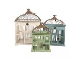 3 ks dekorativní ptačí klec bílá, modrá, zelená s patinou - 42*32*55/34*26*46/26*19*36 cm