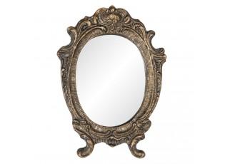 Oválné zrcadlo ve zlatém rámu ve vintage stylu s patinou - 9*1*12 cm
