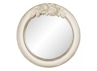 Vintage nástěnné zrcadlo v krémovém rámu s růžemi Ninone – Ø 25*4 cm