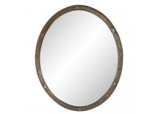 Oválné zrcadlo v hnědém rámu s patinou Nadiya - 22*1*27 cm