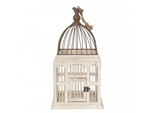 Bílo hnědá dřevěná ptačí klec s ptáčkem - 25*25*50 cm