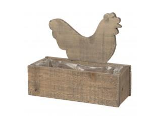 Dřevěný truhlík se slepičkou a patinou Eves - 30*13*24 cm