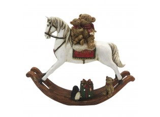 Dekorace houpací koník s medvídky  - 21*5*17 cm