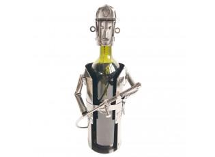 Kovový stojan na láhev vína v designu hasiče Chevalier - 17*12*22 cm