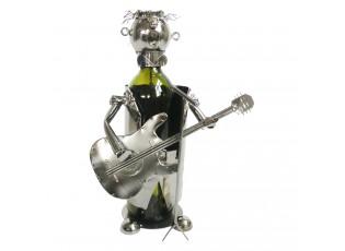 Kovový držák na víno v provedení kytaristy Chevalier - 18*15*21 cm