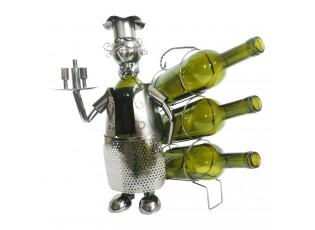 Kovový stojan na láhve vína v designu číšníka Chevalier - 32*21*33 cm