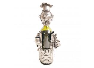 Kovový držák na láhev vína v designu číšníka Chevalier - 15*13*21 cm