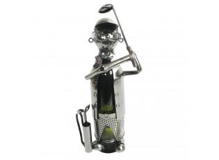 Kovový stojan na víno v provedení golfisty Chevalier - 21*14*29 cm