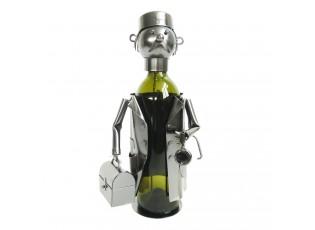 Kovový držák na láhev vína v designu doktora Chevalier - 17*13*20 cm