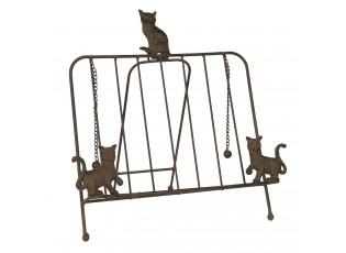 Hnědý kovový stojánek na knihu s kočkami - 38*25*38 cm