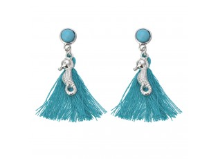 Modré náušnice s třásněmi a mořskými koníky