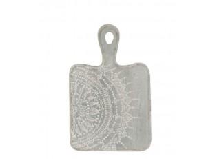 Šedé servírovací prkénko s malovaným ornamentem - 16*1,6*25 cm