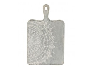 Šedé servírovací prkénko s malovaným ornamentem - 25*1,5*40 cm