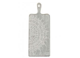 Šedé servírovací prkénko s malovaným ornamentem - 20*1,5*50 cm