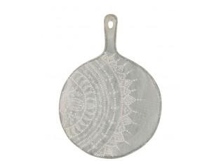 Šedé servírovací prkénko s malovaným ornamentem - Ø 30*1,5 *39 cm