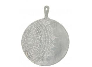 Šedé servírovací prkénko s malovaným ornamentem - Ø 40 *1,5*52 cm