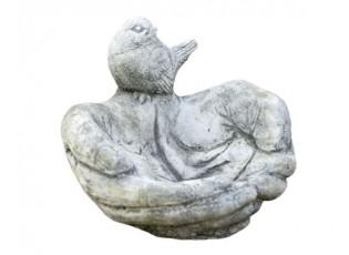 Pítko/ krmítko pro ptáčky spojené dlaně s ptáčkem - 21*21*20cm