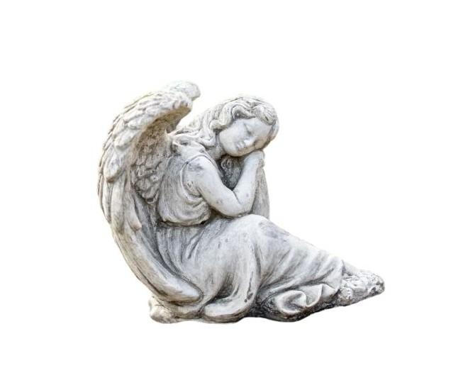 Zahradní betonová dekorace sedící anděl Gabriel - 21*24*24cm