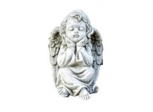 Zahradní dekorace sedící anděl - 15*16*21cm