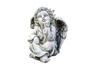 Zahradní betonová dekorace sedící andílek - 14*13*18cm